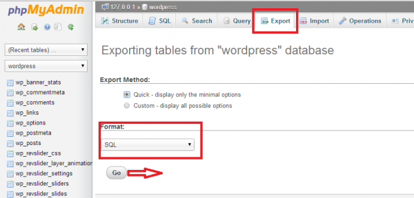 wp migration db export